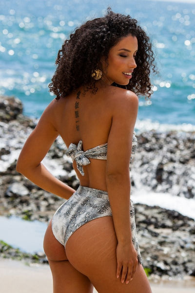 Hali Snake High Waisted Bikini Bottom