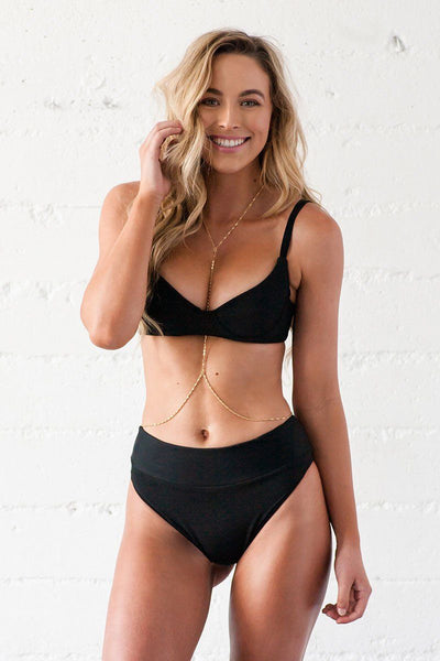 Rae Underwire Bikini Top - Black Ribbed
