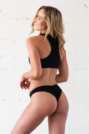 Lei Bikini Bottom - Black Ribbed - Beach Babe Swimwear