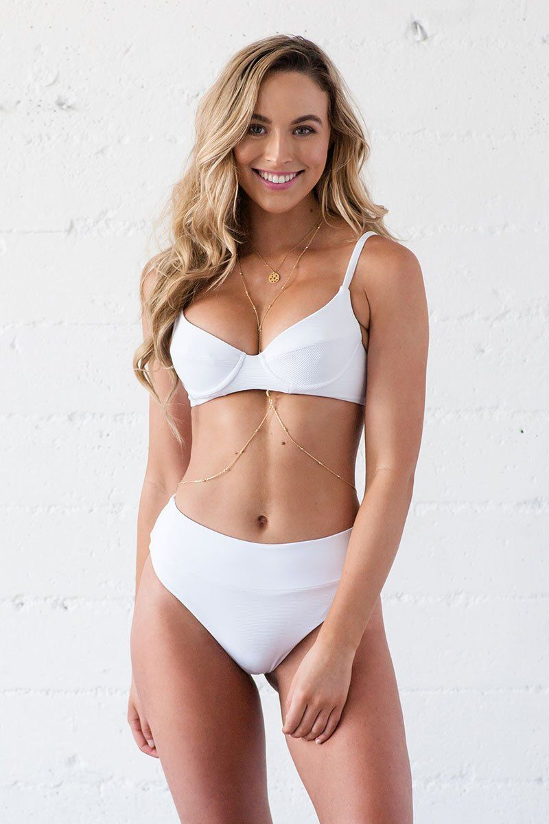 Rae Underwire Bikini Top - White Ribbed - Beach Babe Swimwear