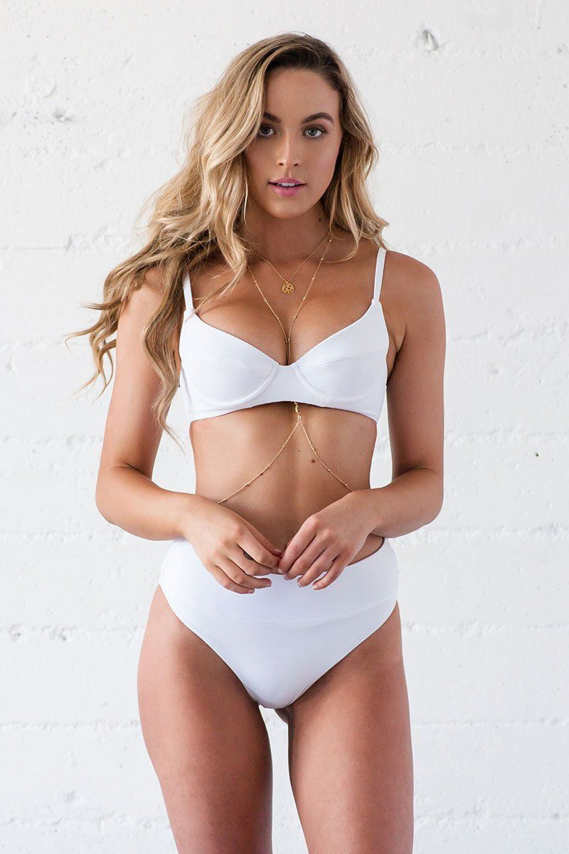 Rae Bikini Bottom - White Ribbed - Beach Babe Swimwear