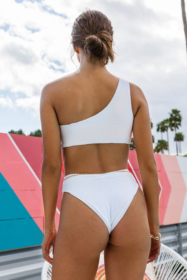 High Tide Bikini Bottom White Scrunch