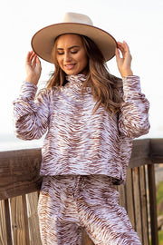 Wild and Free Natural Zebra Pullover