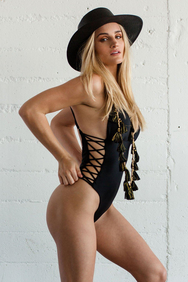 Beach Babe Black One Piece Bikini