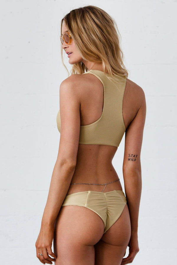 Lei Bikini Bottom - Golden Ribbed - Beach Babe Swimwear