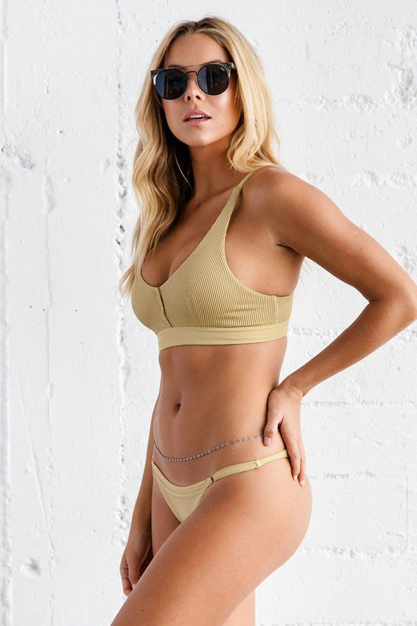 Jade Bikini Bottom - Golden Ribbed - Beach Babe Swimwear