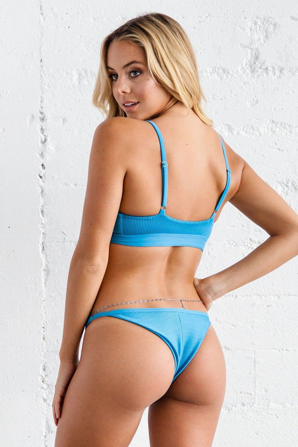 Jade Bikini Bottom - Maui Blue Ribbed - Beach Babe Swimwear