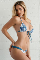 Lallo Top - Blue Flora-Tops-Beach Babe Swimwear