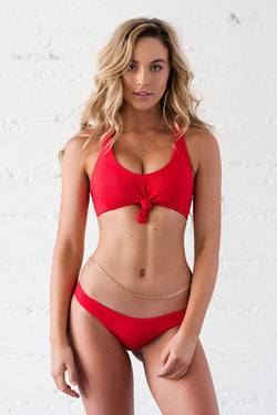 Lei Top - Red Ribbed - Beach Babe Swimwear