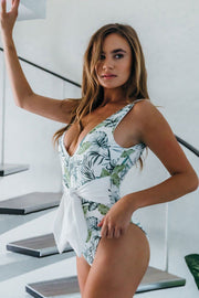 Luna One-Piece Swimsuit Tropical Leaves