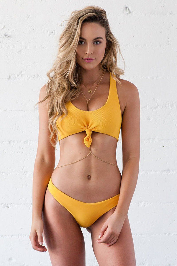 Lei Bikini Bottom - Mango Ribbed - Beach Babe Swimwear