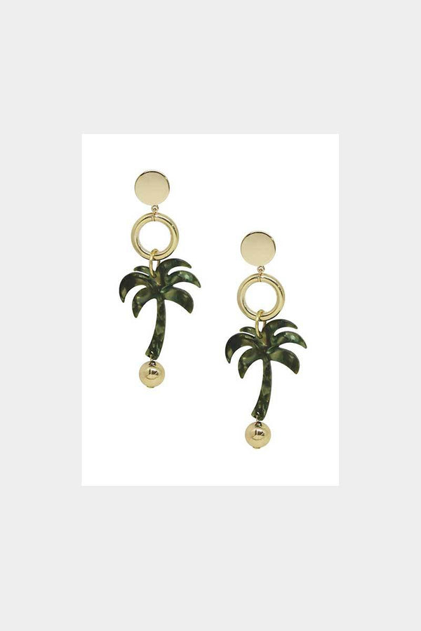 Pool Party Resin Palm Tree Earrings