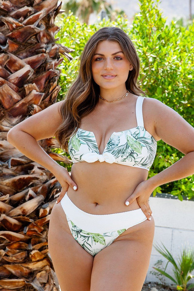 Zoe Tropical Leaf Bandeau Top