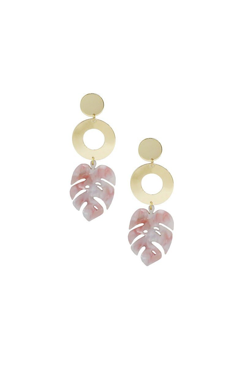 In the Tropics Resin Palm Leaf Earrings in Pink & Gold
