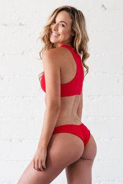 Lei Bikini Bottom - Red Ribbed - Beach Babe Swimwear