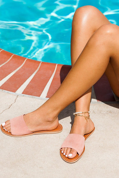 Cabana Rose Suede Slide