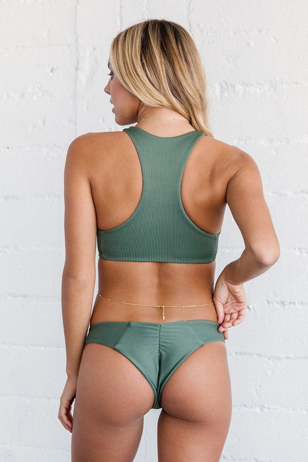 Lei Bikini Bottom - Sage Ribbed - Beach Babe Swimwear
