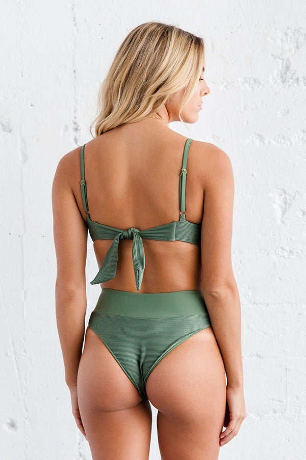 Rae Bikini Bottom - Sage Ribbed - Beach Babe Swimwear