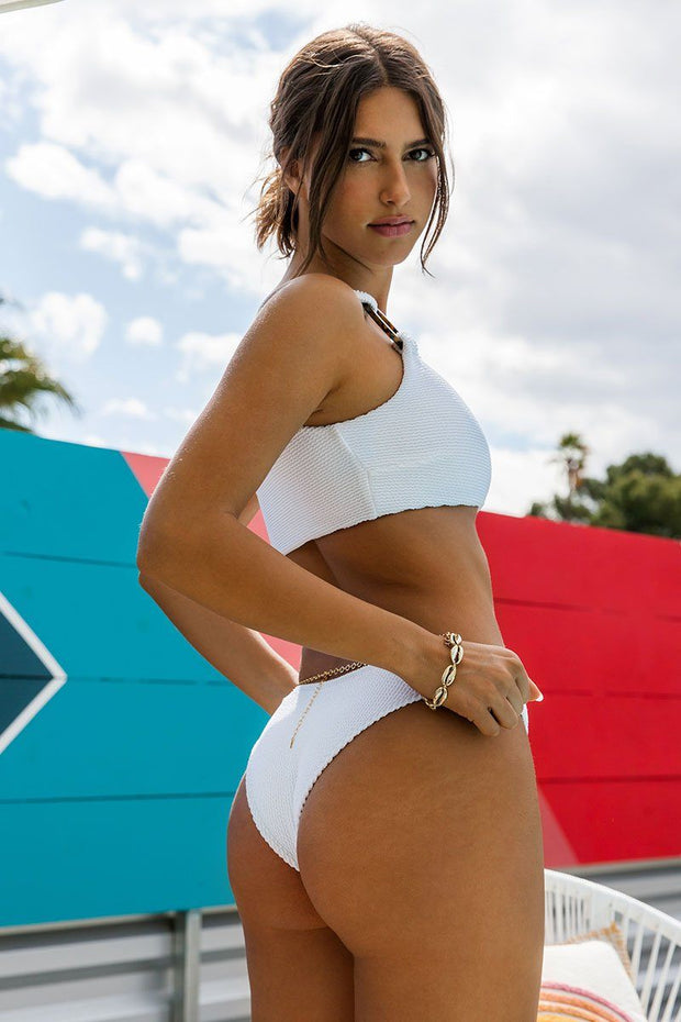 Sandy White Scrunch High Hip Bikini Bottom