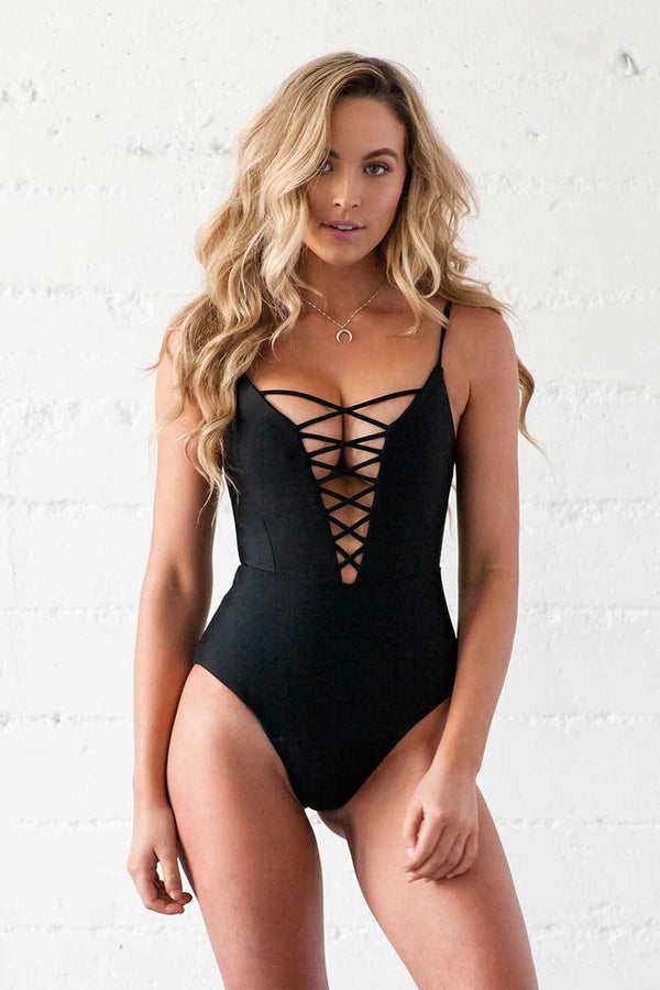 Saskia One Piece - Noir - Beach Babe Swimwear