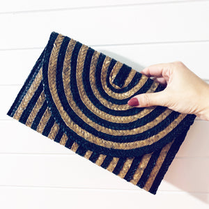 Striped Palm Leaf Clutch