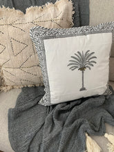 Load image into Gallery viewer, Black Palm Tree Cushion Cover