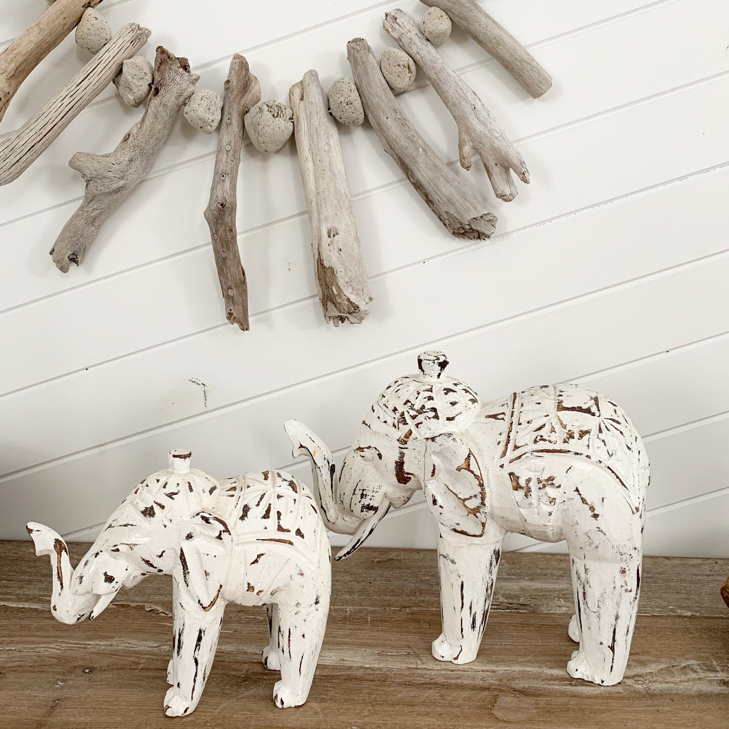 Whitewash Handcrafted Wooden Elephant Small