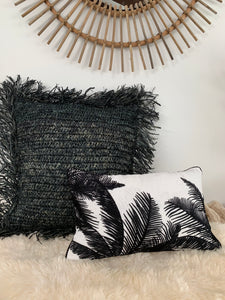 Rafia Cushion Cover/ Black