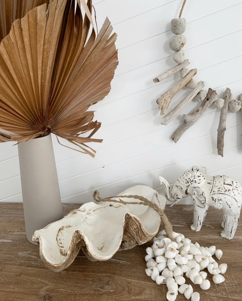 Whitewash Handcrafted Wooden Elephant Large
