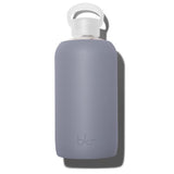 Fashionable 32oz Reusable Glass Water Bottle With Smooth, Opaque Dark Grey Silicone Rubber Protective Sleeve With Plastic Cap With Carrying Loop