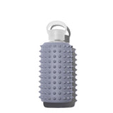 Fashionable 16oz Reusable Glass Water Bottle With Spiked, Opaque Dark Grey Silicone Rubber Protective Sleeve With Plastic Cap With Carrying Loop