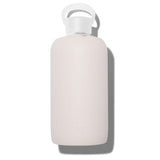 Fashionable 32oz Reusable Glass Water Bottle With Smooth, Opaque Tan Silicone Rubber Protective Sleeve With Plastic Cap With Carrying Loop