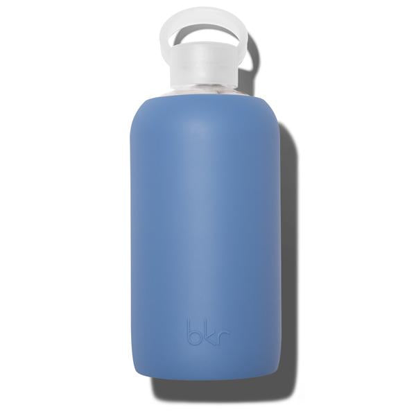 Cute 32oz Reusable Glass Water Bottle With Smooth, Opaque Denim Blue Silicone Rubber Protective Sleeve With Plastic Cap With Carrying Loop