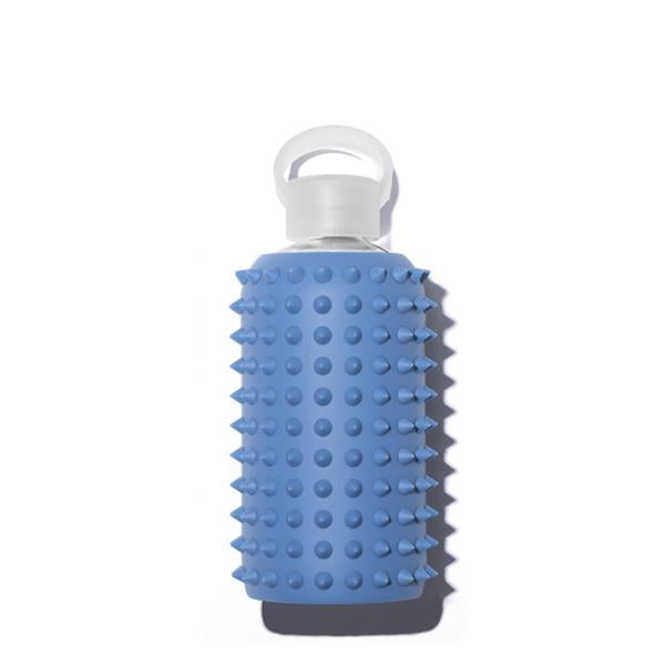 Cute 16oz Reusable Glass Water Bottle With Spiked, Opaque Denim Blue Silicone Rubber Protective Sleeve With Plastic Cap With Carrying Loop