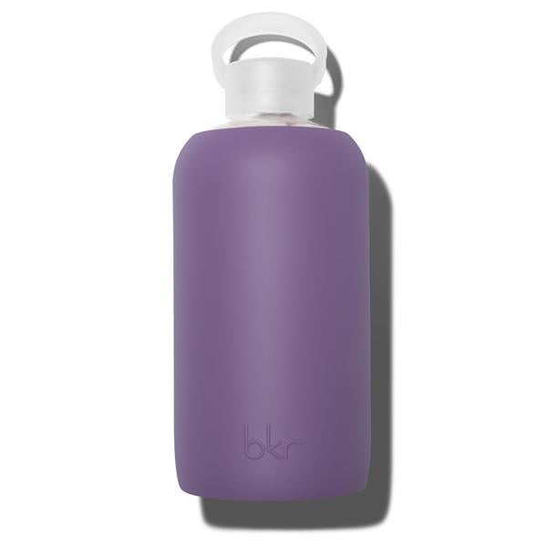 Cute 32oz Reusable Glass Water Bottle With Smooth, Opaque Plum Silicone Rubber Protective Sleeve With Plastic Cap With Carrying Loop