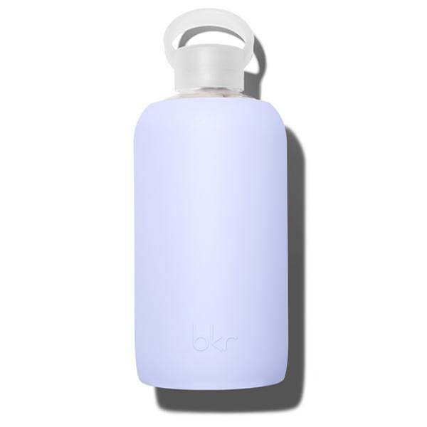 Fashionable 32oz Reusable Glass Water Bottle With Smooth, Periwinkle Blue Silicone Rubber Protective Sleeve With Plastic Cap With Carrying Loop
