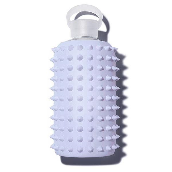 Cute 32oz Reusable Glass Water Bottle With Spiked, Periwinkle Blue Silicone Rubber Protective Sleeve With Plastic Cap With Carrying Loop