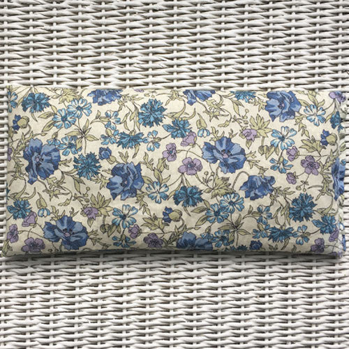 Blue Flowers Liberty Eye Pillow for Relaxation, Yoga & Meditation (Non Scented or Organic Lavender)