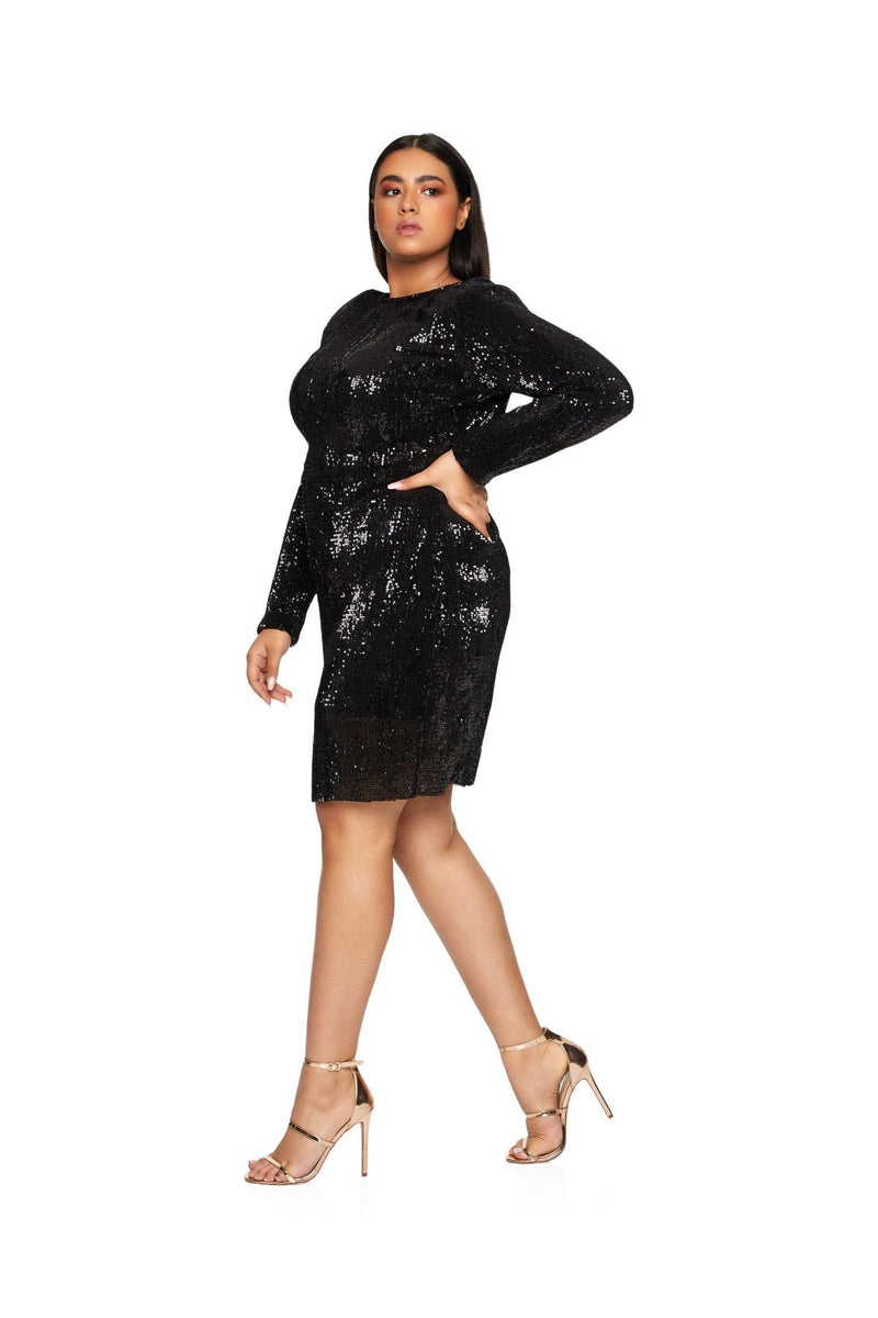 New-in, Curve Collection, Ameni in Black Sequin Party Dress, Available in plus sizes XL - XXXL, Next day delivery in Dubai, Fast shipping in UAE and international shipping available. Hi Maintenance - Online women's fashion boutique in United Arab Emirates.