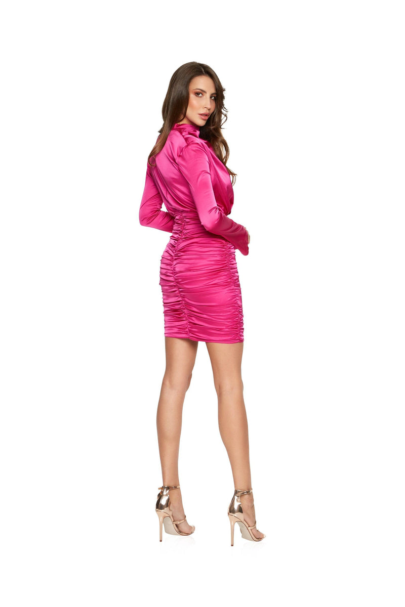 New-in, Main Collection, Cara dress in Pink Satin, Available in sizes XS - L, Same day and Next day delivery in Dubai, Fast shipping in UAE and international shipping available. Hi Maintenance - Online women's fashion boutique in United Arab Emirates.