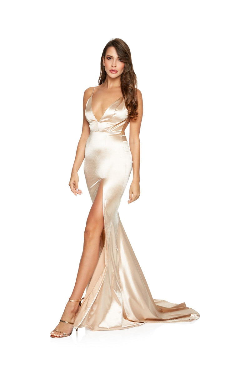 New-in, Main Collection, Carmel in Gold Satin Evening Gown, Available in sizes XS - L, Next day delivery in Dubai, Fast shipping in UAE and international shipping available. Hi Maintenance - Online women's fashion boutique in United Arab Emirates.