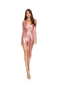 New-in, Main Collection, Estelle in Pink Shimmer Party Dress, Available in sizes S - L, Next day delivery in Dubai, Fast shipping in UAE and international shipping available. Hi Maintenance - Online women's fashion boutique in United Arab Emirates.