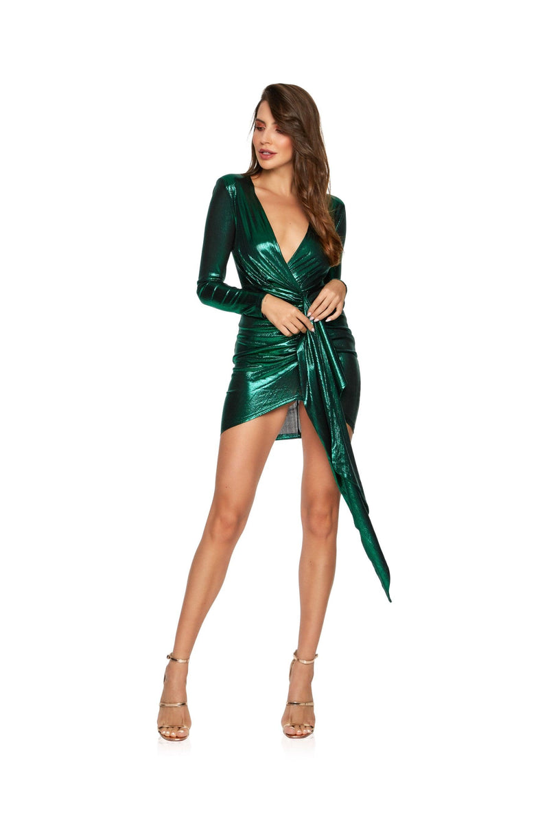 New-in, Main Collection, Estelle in Green Shimmer Party Dress, Available in sizes S - L, Same day and Next day delivery in Dubai, Fast shipping in UAE and international shipping available. Hi Maintenance - Online women's fashion boutique in United Arab Emirates.