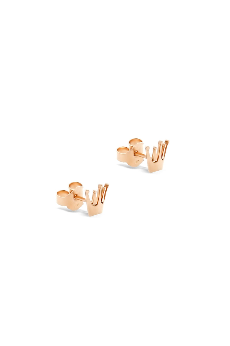 New-in, Jewellery Collection, Crown Rose Gold 18k Earrings, Next day delivery in Dubai, Fast shipping in UAE and international shipping available. Hi Maintenance - Online women's fashion boutique in United Arab Emirates.