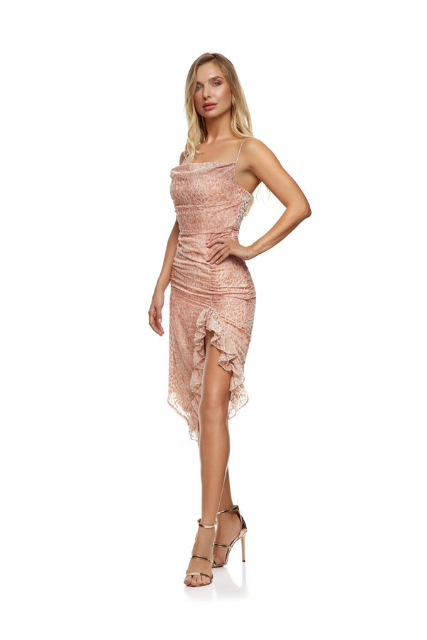 New-In, Main Collection, Nicolett Dress, Pink, velvet, animal print, Available in sizes S-L, Next day delivery in Dubai, Fast shipping in UAE and international shipping available. Hi Maintenance - Online women's fashion boutique in United Arab Emirates.