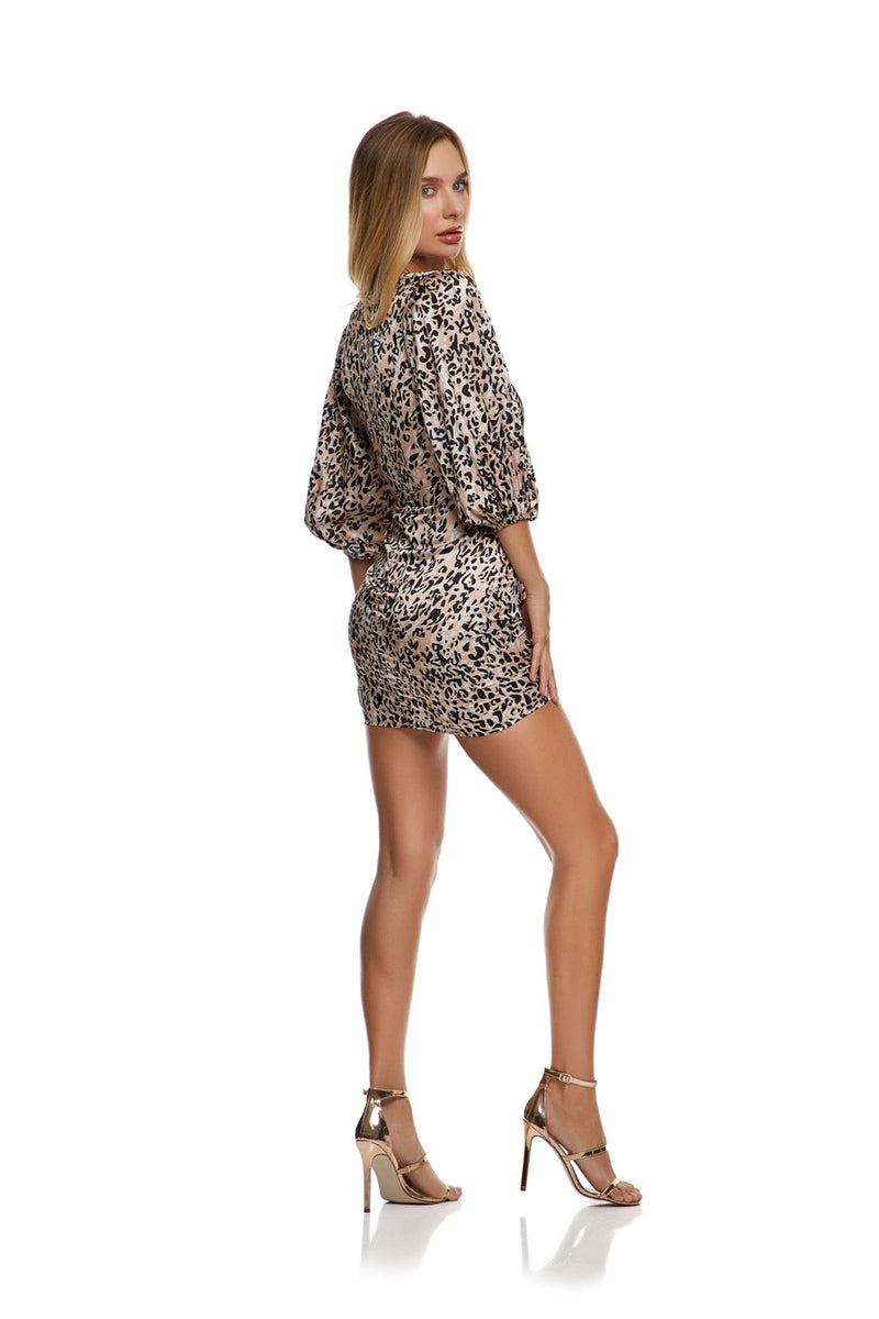 New-In, Main Collection, Irina Dress, Animal print, satin fabric, Available in size S-L, Same day and Next day delivery in Dubai, Fast shipping in UAE and international shipping available. Hi Maintenance - Online women's fashion boutique in United Arab Emirates.