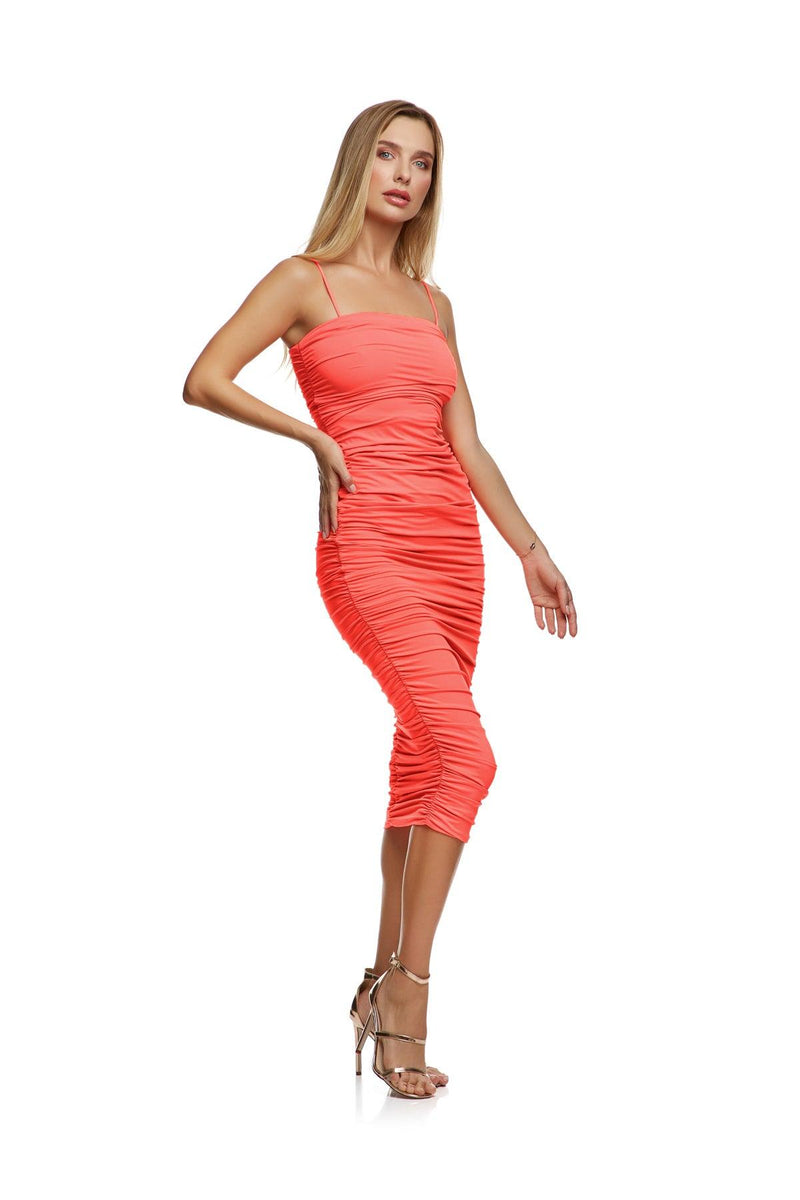 New-In, Main Collection, Amie Dress, Coral, double lined stretch fabric, Available in size S-L, Same day and Next day delivery in Dubai, Fast shipping in UAE and international shipping available. Hi Maintenance - Online women's fashion boutique in United Arab Emirates.