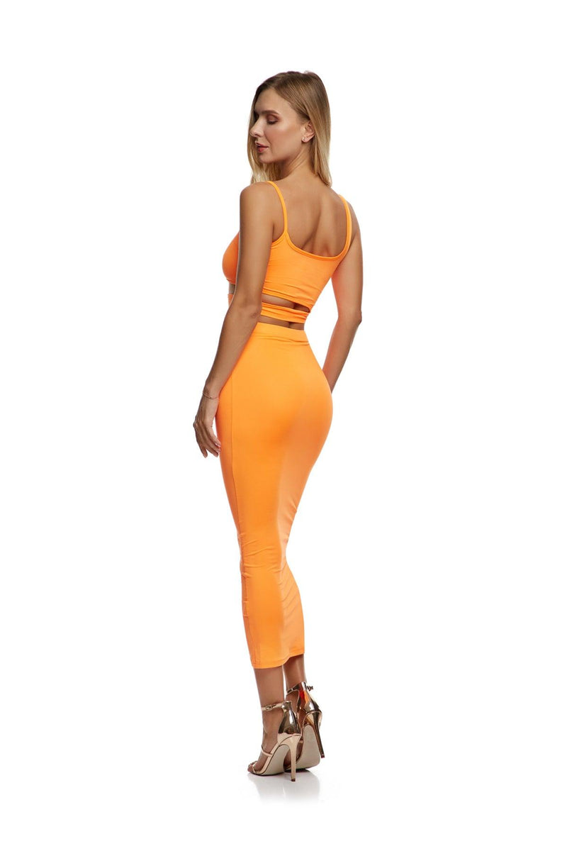 New-In, Main Collection, Lily set, Orange, stretch fabric, Available in size S-L, Same day and Next day delivery in Dubai, Fast shipping in UAE and international shipping available. Hi Maintenance - Online women's fashion boutique in United Arab Emirates.