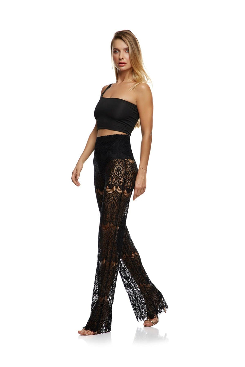 New-In, Main Collection, Gina Trousers, Black, Sheer Lace, Available in sizes S-L, Next day delivery in Dubai, Fast shipping in the UAE and international shipping. Hi Maintenance - online women's fashion boutique in United Arab Emirates.