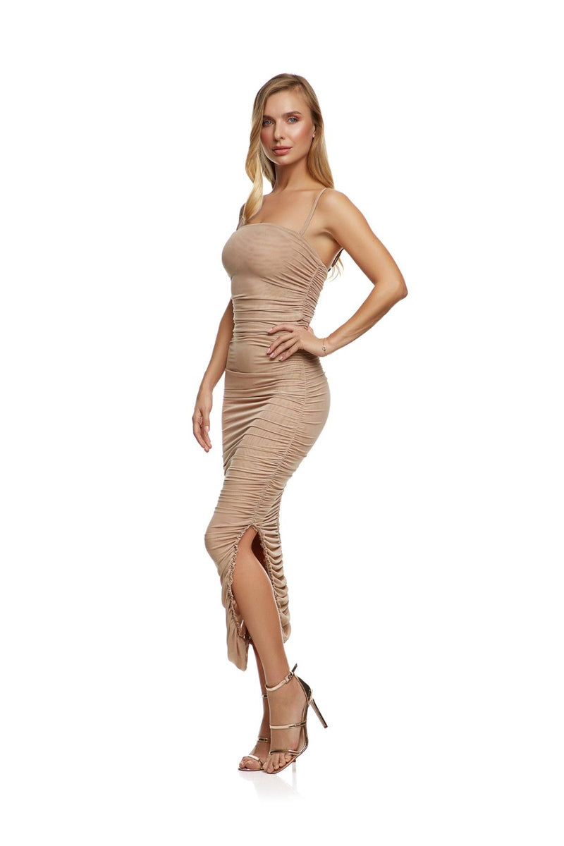 New-In, Main Collection, Reem Dress, Nude, sheer mesh fabric, Available in sizes XS-L, Next day delivery in Dubai, Fast shipping in the UAE and international shipping. Hi Maintenance - online women's fashion boutique in United Arab Emirates.
